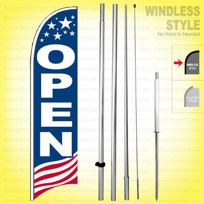 OPEN - Windless Swooper Flag Kit 15' Feather Banner Sign  USA bb-h