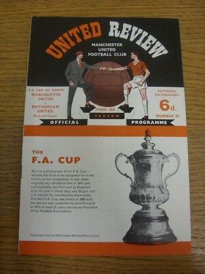 12/02/1966 Manchester United v Rotherham United [FA Cup] (token Removed). Any fa