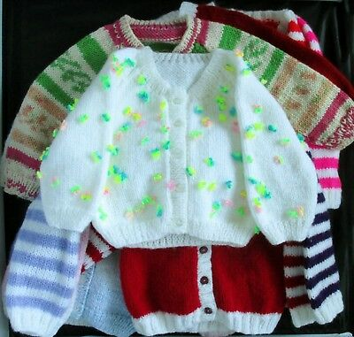 Hand knitted baby girl cardigan 6-12mths choice of design/colour
