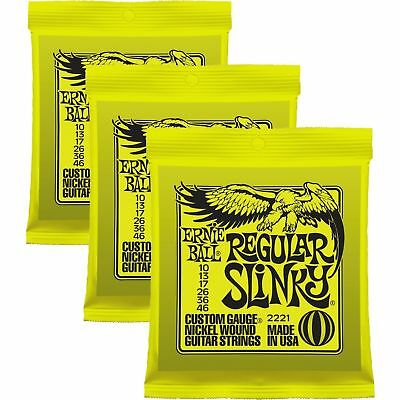 3 sets - Ernie Ball 2221 Regular Slinky Electric Guitar Strings 10-46