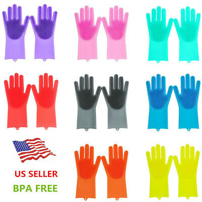 1 Pair Magic Silicone Rubber Dish Washing Gloves Eco-Friendly Scrubber Cleaning