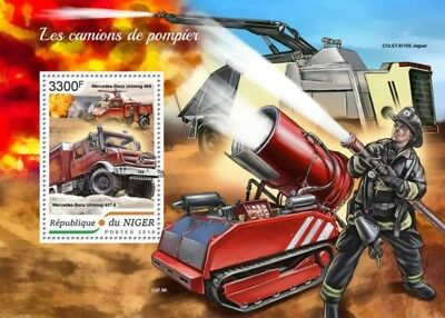 Niger - 2018 Fire Engines on Stamps - Stamp Souvenir Sheet - NIG18409b
