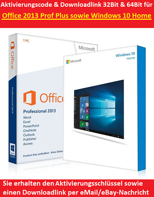 Microsoft Windows 10 Home Office 2013 Professional Plus Download Key 32+64Bit