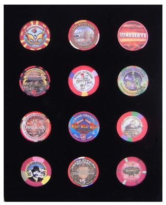 8x10 BLACK DISPLAY INSERT FOR 12 CASINO POKER CHIPS (NOT INCLUDED)