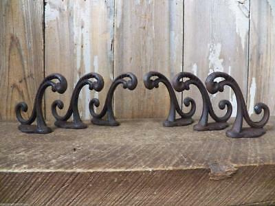 Set of 6 Victorian-Style Antique Look Rustic Cast Iron School Coat Hooks Wall