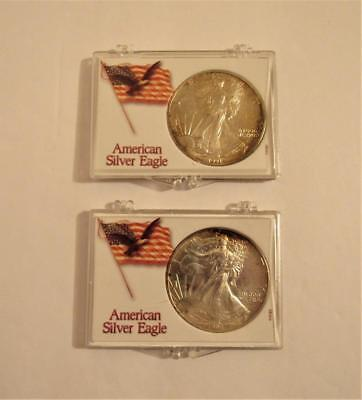 1991 & 1994 Silver Dollar 2 pc Coin 1 troy oz SILVER AMERICAN EAGLE TONED :