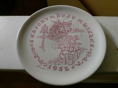 Buffalo Pottery 1952 Christmas Plate / Buffalo NY China