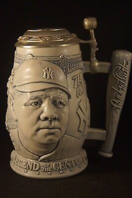 """1999 Legend of the Century Collector's Lidded Stein - Babe Ruth 8"""" Tall"""