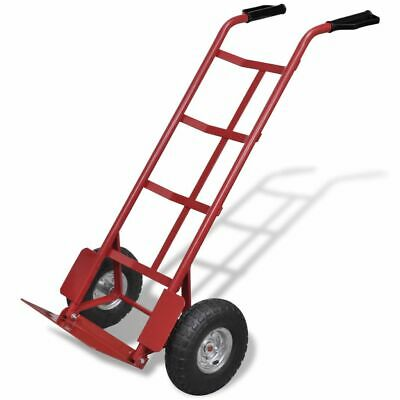 vidaXL Foldable Trolley Metal Red and Black Transport Cart Dollies Hand Truck