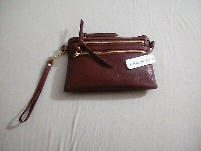 Charming Charlie NWT Double Wristlet Crossbody Wine Color