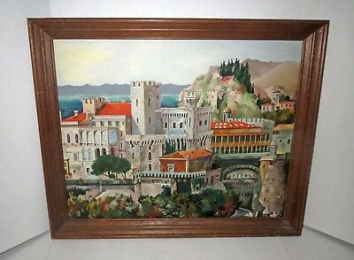 Signed Mid Century PAINTING - CASTLE BY THE SEA - BEAUTIFUL INTENSE COLORS