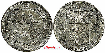 Netherlands East Indies William III Silver 1882 1/10 Gulden KM# 304.1