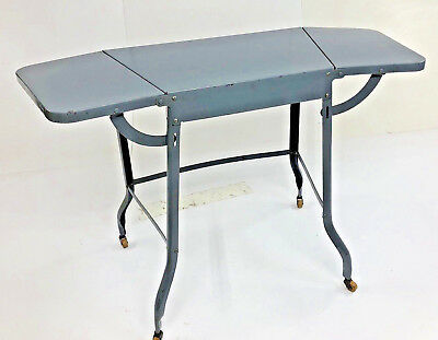 Vintage TRAPEZOID TYPEWRITER TABLE double drop leaf Stand industrial rolling