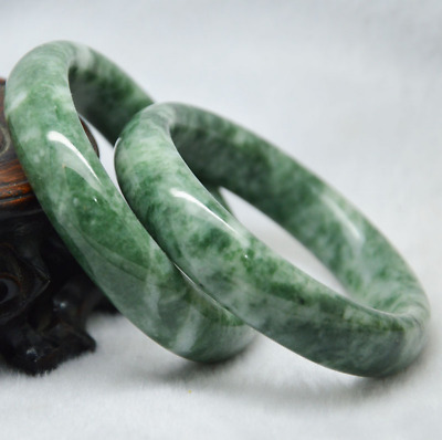 Hot sell Chinese Beautiful Natural Floated flower Green Jade Bracelet 58-60mm