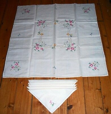 Vtg New Unused Embroidered Cross Stitch Needlepoint Tablecloth & 6 Napkins Ex
