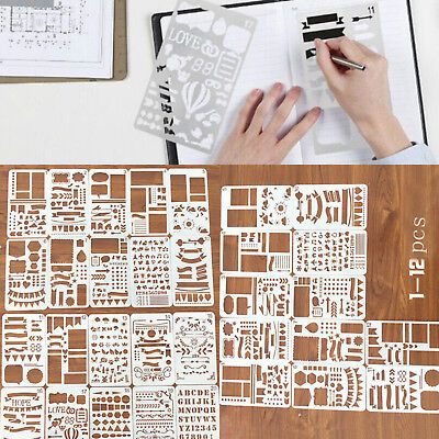 12/20pcs Bullet Journal Stencil Set Planner DIY Drawing Template Diary Scrapbook