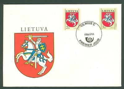 Lithuania D98 FDC 1994 2v Coat of Arms Horse Rider Below face