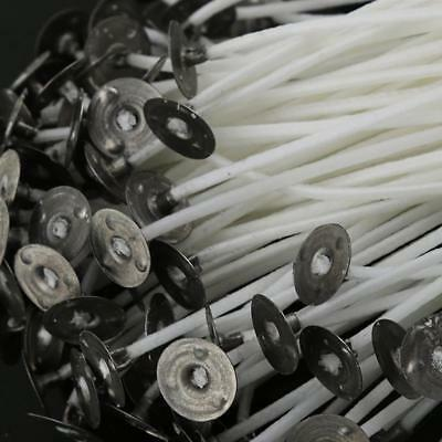 100pcs Candle Wicks Low Smoke Pre Waxed Wick with Tabs Sustainers Cotton Core