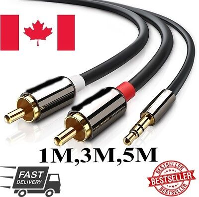 Premium GOLD Stereo Audio 3.5mm Aux Jack to 2 RCA M/M Y Cable Gold Plated ca sl