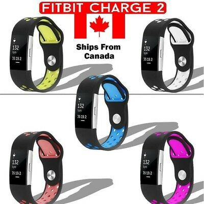 For Fitbit Charge 2 Band Soft Silicone Adjustable Sport Strap Band NEW CA STOCK