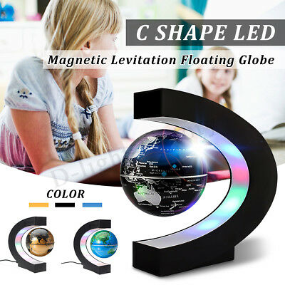 O/C Shape Magic LED World Map Decoration Magnetic Levitation Floating Globe Gift