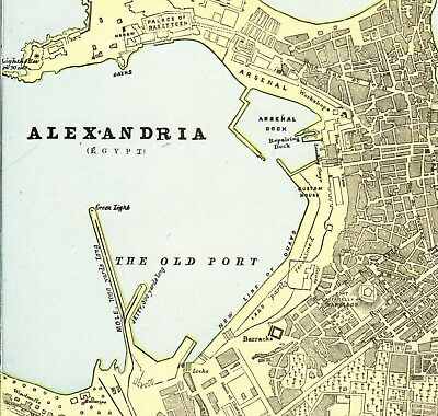 1896 Antique Alexandria Map Gallery Wall Art City Map of Alexandria Egypt  #6172