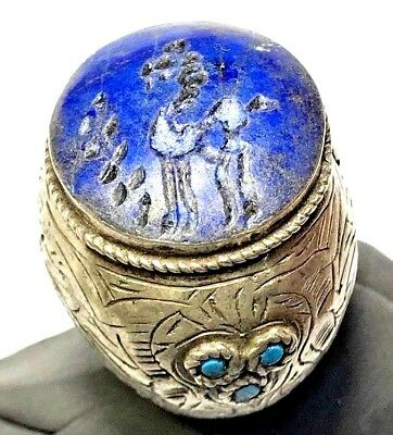 MEDIEVAL SILVER RING WITH HORSE SEAL LAPIS LAZOULI  STONE 21.4gr 32mm (in 20mm)