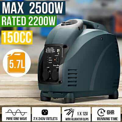 Gentrax Portable Inverter Generator 2.5KW Max 2.2KW 12v Petrol Camping Pure Sine