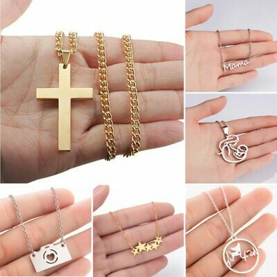 Charm Stainless Steel Round Women Hollow Animal Silver Pendant Necklace Jewelry