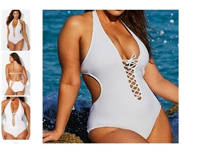 29b9dca74c plus size ASHLEY GRAHAM halter VIP sexy lace up SWIMSUIT 20 white b6