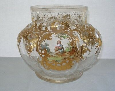MUSEUM QUALITY Antique 1800s Glass VASE Hand Painted SCENES Josephinenhütte GOLD