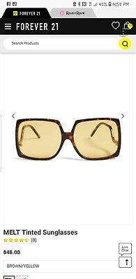 eaf1f1f56bd8e FOREVER 21 MELT Square Sunglasses Brown Yellow New in Packaging ...