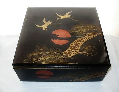 PHENOMENAL HP Cranes PINE Tree LACQUER WOOD BOX Early 20th C JAPANESE has WEAR