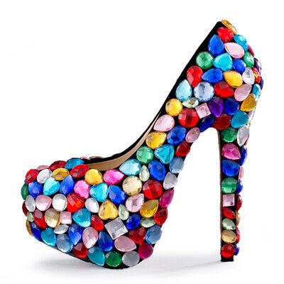 Women Multi-colored Beads Rhinestones Stiletto High Heel Shoes Pumps Wedding New