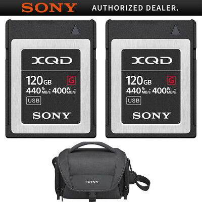 Sony Professional XQD G-Series 120GB Memory Card 2 Pack + Soft Carrying Case
