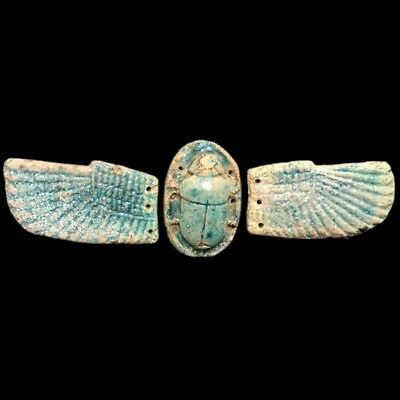 Ancient Egyptian Winged Faience Scarab 664 - 332 Bc (1) Large Over 22 Cm Wide !!
