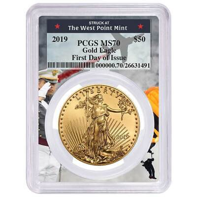 2019 $50 American Gold Eagle 1 oz. PCGS MS70 FDOI West Point Frame