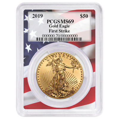 2019 $50 American Gold Eagle 1 oz. PCGS MS69 First Strike Flag Frame
