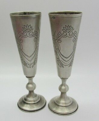 Pair of RARE Antique Imperial Russian .875 Silver Hallmarked Jewish Kiddush Cups
