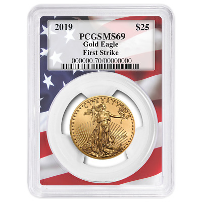 2019 $25 American Gold Eagle 1/2 oz. PCGS MS69 First Strike Flag Frame