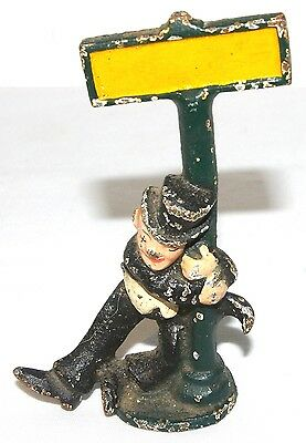 Vtg Cast Iron Drunk Man & Sign Post Miniature Green Black Top Hat Gentleman