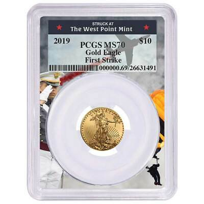 2019 $10 American Gold Eagle 1/4 oz. PCGS MS70 First Strike West Point Frame