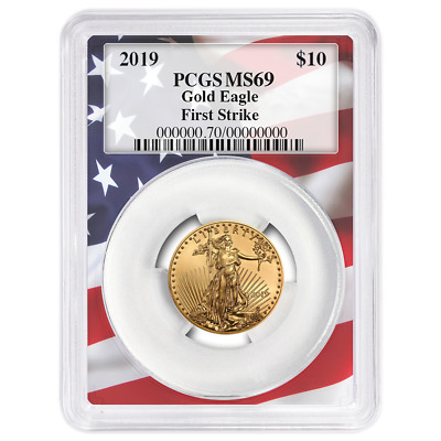2019 $10 American Gold Eagle 1/4 oz. PCGS MS69 First Strike Flag Frame