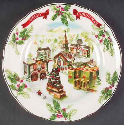 Charter Club WINTER GARLAND Merry Christmas Accent Luncheon Plate 7605880