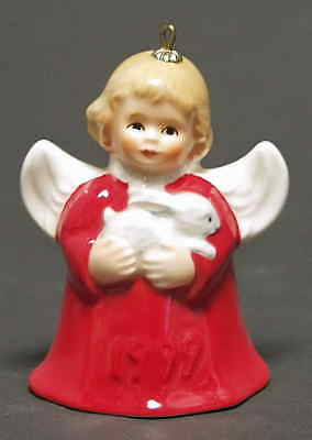 Goebel ANGEL BELL ORNAMENT Red Angel w/ Rabbit 1999