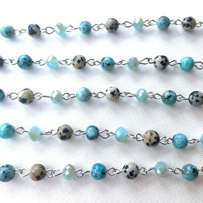 Blue Crystal Stone Beaded Rosary Antique Siilver Eyepin Chain 6mm 2ft 66434