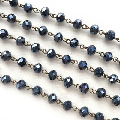 Black Crystal Rondelle Beaded Rosary Antique Brass Eyepin Chain 8x6mm 2 feet