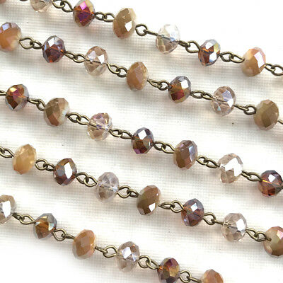 Vintage Brown Crystal Rondelle Beaded Rosary Antique Brass Eyepin Chain 8mm 2ft