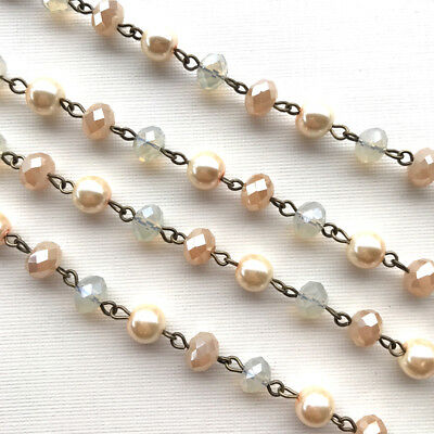 Cream Crystal Glass Pearl Beaded Rosary Antique Brass Eyepin Chain 8mm 2ft 66438