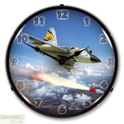 "F-106 The Six Delta Dart 5th FIS Jet Fighter WALL CLOCK 14"" Lighted Backlit New"